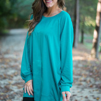 Slouchy Dolman Tunic Long Sleeve, Teal