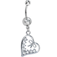 Crystalline Gem Dainty Bow in CZ Heart Dangle Belly Ring | Body Candy Body Jewelry