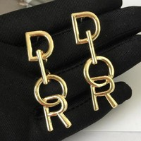 DIOR 925 Popular Women Personality Golden Letter Pendant Long Style Earrings Accessories