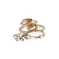 Faux Stone & Etched Leaf Ring Set