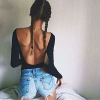 Women Long Sleeve O-neck Backless Black T-Shirt 2016 Autumn Fashion New Arrival Women Sexy Solid T-shirt Female Tops X0414