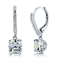 2CT Asscher Cut Dangle Earrings