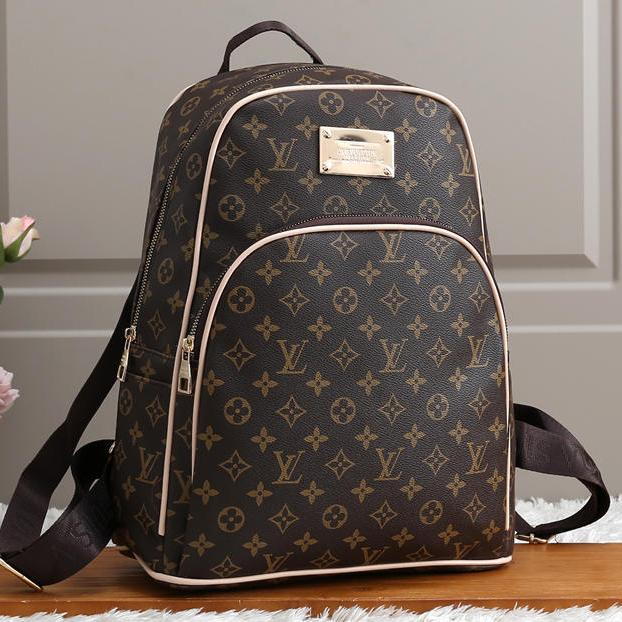 Image of Louis Vuitton LV Women Fashion Leather Backpack Rucksack College Bookbag Daypack Coffee LV print
