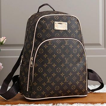 Louis Vuitton LV Women Fashion Leather Backpack Rucksack College Bookbag Daypack Coffee LV print