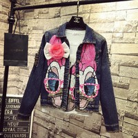 2018 Students Short Denim Jacket Coats Spring Winter Women New Fashion Pearl Pink Sequin Long Sleeved Jeans Cowboy Coat Overcoat