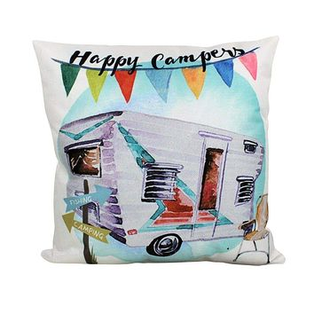 Happy  Camper | Fun Times | Vintage Camper | Pillow Cover | Camper Decorations | Throw Pillow | Camper Gifts | Camper Decor | Gift Ideas