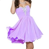 Fashion Plaza Sweetheart Strapless A-line Short Chiffon Homecoming Dress D0363 (US6, Lilac)