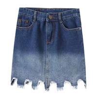 Ombre Denim Skirt with Cut-out
