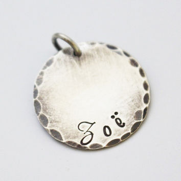 ADD A NAME DISC Large - Rustic or Shiny - Hand Stamped Sterling Silver Name Charm - Personalized Name Disc - Round Name Charm - Add On Disc