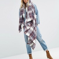 ASOS Oversized Square Scarf in White Based Plaid at asos.com