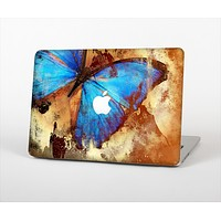"The Bright Blue Butterfly on Grunge Gold Surface Skin Set for the Apple MacBook Pro 13"" with Retina Display"