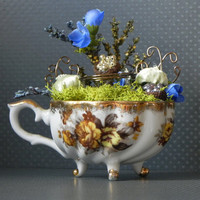 Fairy teacup. Fairy house, terrarium, miniature garden, indoor garden, fairy furniture, fairy display, charming gift.