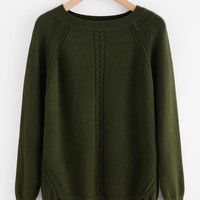 Slit Side High Low Cable Knit Sweater -SheIn(Sheinside)