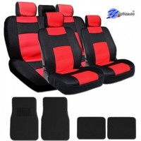 New YupBizauto Brand Sleek and Elegant Design Universal Size Mesh and Synthetic Leather Car Seat Covers Set Complete Front and Rear Covers with 4 Black Color Carpet Floor Mats Black and Red Color