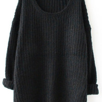 Women Black Cozy Casual Sweater +Free Gift -Mermaid Necklace