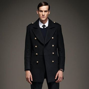 7 Color 50% Wool Winter Men's Coat Double Breasted Fashion Military Epaulet Men Jacket Long Casaco Masculino YP8808