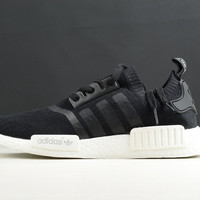 Adidas Originals NMD Runner R1 Primeknit Monochrome Black Men's Shoes