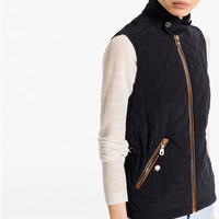 QUILTED NAVY WAISTCOAT - View all - Coats & Jackets - WOMEN - United States of America / Estados Unidos de América