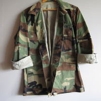 Vintage Camo Jacket Shirt Camouflage Military Marines Used BDU Small