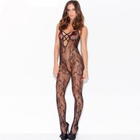 Fashion 2016 New Sexy Summer Women Erotic Lingerie Spaghetti Strap Stockings Floral Swirl Bodystocking LC79697