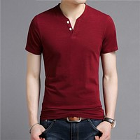 Short Sleeve T Shirt Men Summer Streetwear Casual Cotton Tee Shirt Homme Fashion Button Henry Collar T-Shirt Man