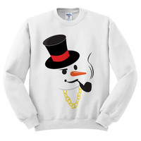 White Crewneck Gangster Snowman Ugly Christmas Sweatshirt Sweater Jumper Pullover