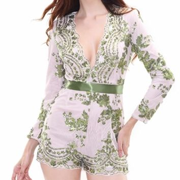 Sweet Romance Beige Green Sequin Lace Long Sleeve V Neck Romper Playsuit
