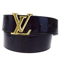 Auth LOUIS VUITTON Ceinture Buckle Belt Monogram Vernis Leather 90/36 33BA683