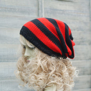 Red and Black Hand Knitted Slouchy Beanie Tam Hat Dreads