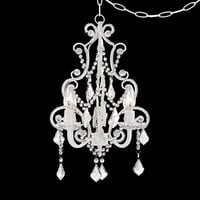 White With Crystal Accents Plug-In Swag Chandelier - #P5787 | Lamps Plus