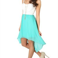 High Low Dress with Lace Illusion Bodice and Keyhole Back
