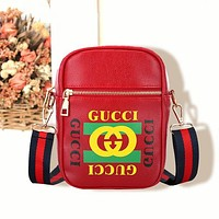 Gucci Women Men Fashion Waist Bag Rectangle perpendicular Type Letters Bag Red