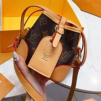 LV Louis Vuitton Women Leather Cute Mini Bucket Bag Shoulder Bag Crossbody Satchel