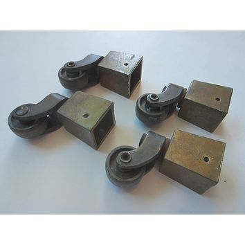 Four Metal Casters Art Deco Rolling Furniture Hardware Accessories