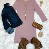 When the Mood Stripes Tunic Dress: Dusty Rose