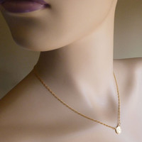 """Gold Contemplating Angel Layering Necklace, Guardian Angel of Contemplation Cupid Charm Necklace, 14"""" - 18"""""""