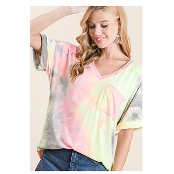 CLOSEOUT! Adorable V Neck Pink Grey Tie Dye Top