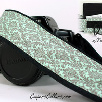 Aqua Damask dSLR Camera Strap, Pocket, Aqua, Grey, Gray, SLR