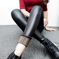 Winter Pants Women Korean Plus Thick Velvet Pencil Pants Slim Plus Size Imitation Leather Pants Female Trousers Warm