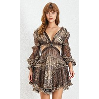 In Her Shoes Brown White Paisley Floral Pattern Chiffon Long Lantern Sleeve V Neck Cut Out Lace Up Back Flare A Line Mini Dress - Sold Out