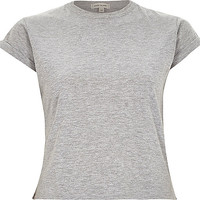 River Island Womens Plain grey cotton fitted cropped t-shirt