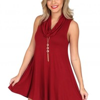 The Loving Kind Burgundy Cowl Neck Dress | Monday Dress Boutique
