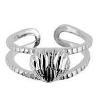 Sterling Silver Rhodium Plated Sea Shell Cuff Style Adjustable Toe Ring