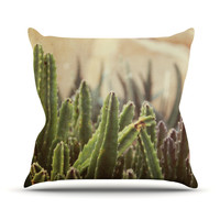 "Jillian Audrey ""Green Grass Cactus"" Green Brown Throw Pillow"