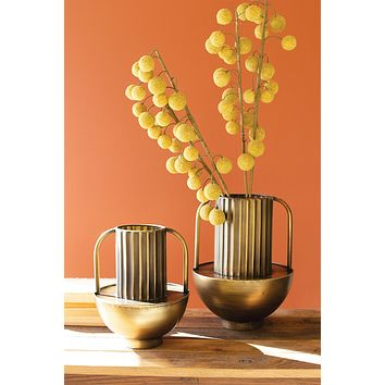 Set Of Two Metal Antique Brass Vases With Handles