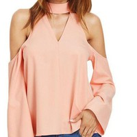 COLROVIE Ladies Office Shirts Women Shirts Women Fashion Long Sleeve Pink Cutout Choker Cold Shoulder Top Blouse