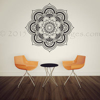 Mandala flower bloom wall decal, Lotus flower decal, bohemian wall decor, flower wall decal, living room decor, bedroom decor, wall art