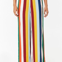 Striped High-Waisted Wide Leg Pants