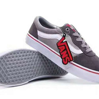 """"""" Vans"""" Splicing Casual Shoes Men And Women Cloth Shoes grey G-PSXY"""