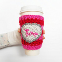 Valentines Day Love Coffee Cozy in Pink and Red Stripes with Heart, ready to ship.